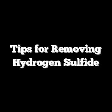 Tips for Removing Hydrogen Sulfide
